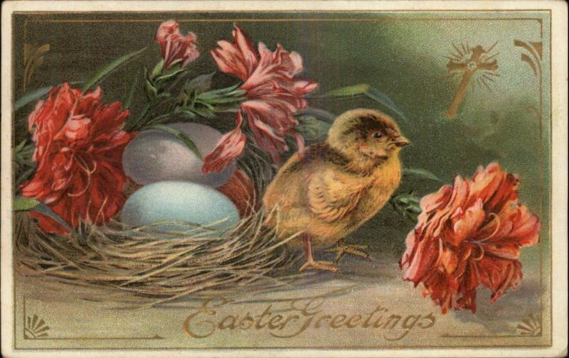 EASTER GREETINGS Chick w Nest of Colored Easter Eggs c1910 Postcard