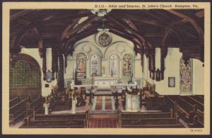 Interior,St John's Church,Hampton,VA Postcard