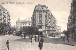 Algeria Alger, Rue Michelet et la Poste, railway railroad, animated tram