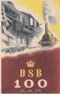 Railroad ADV Poster Art postcard; D.S.B. 100 aar , 1910-20s