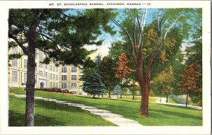 Mt. St. Scholastica School Atchison Kansas Vintage Postcard Standard View Card