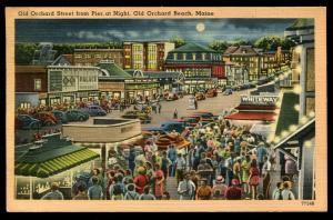 Old Orchard Street from Pier at Night. Old Orchard Beach, ME. 1948 cancel. Linen