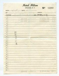 Hotel Hilton Syracuse N. Y. New York Vintage Paper Invoice June 1952