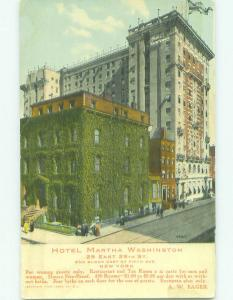 Unused Divided Back MARTHA WASHINGTON HOTEL New York City NY hr9626