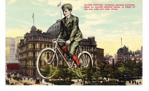 NEW YORK CITY HALL VIEW, CHAMPION ECLIPSE BRAKE BICYCLIST ADVERTISING PC, NYC