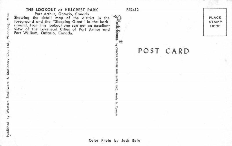 Port Arthur Ontario~Lookout at Hillcrest Park~District Map~Homes~1960s Postcard