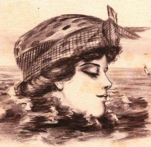 Postcard Artist Signed Cobb Shinn Woman's Head in Ocean Fantasy