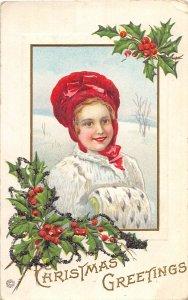 F89/ Merry Christmas Holiday Postcard c1910 Prettyu Girl Muff Holly 16