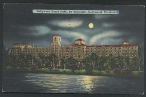Moonlight Beach in Hollywood Florida Hotel Vintage Postcard