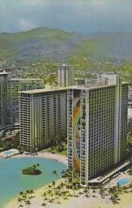 Hawaii Honolulu The Rainbow Tower Beside The Lagoon At The Hilton Hawaiia Vil...