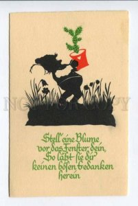 423179 GNOME Dwarf w/ CACTUS Vintage SILHOUETTE Emil Kohn PC