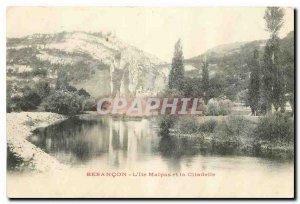 Old postcard Besancon Island Malpas and the Citadel