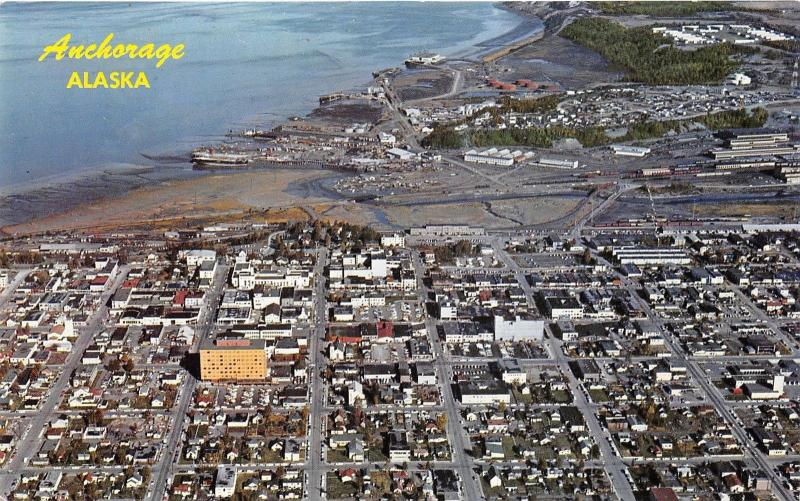 Anchorage Alaska~Downtown Business District Aerial View~JC Penney~Hill Bldg~'50s