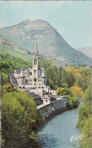 France Lourdes basilica and the gave semi-modern photo postcard