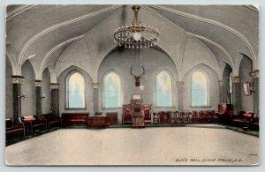 Sioux Falls South Dakota~Elk's Hall~Mounted Buck on Wall~Large Chandelier~1914