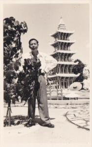 Singapore Son Goh Man Posing By Tiger Balm Park Real Photo