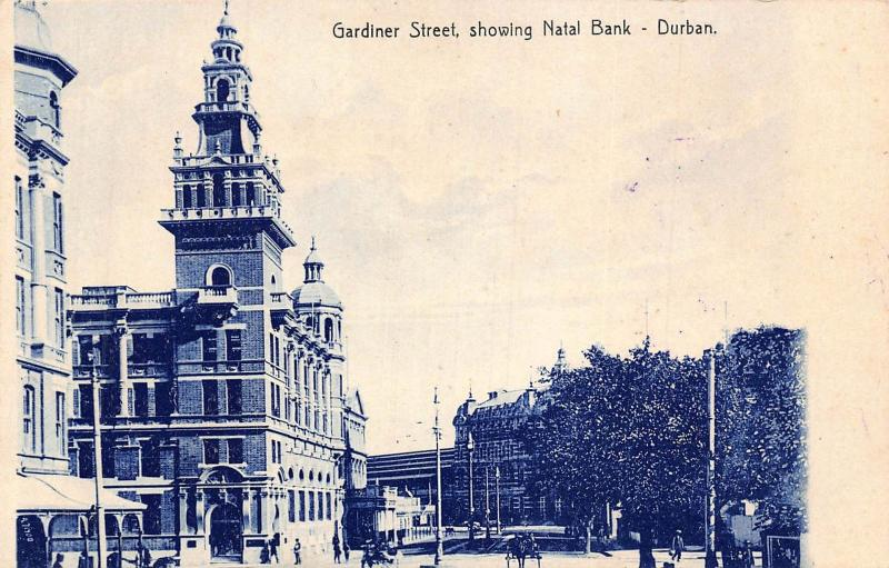 South Africa Durban Gardiner Street Natal Bank postcard