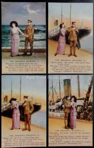 WW1 THE ANCHOR'S WEIGHED Bamforth Song Cards set of 4 No 4824/1/2/3/4