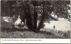 Lake Minnetonka, Minnesota Postcard Camping Scene Tents Fishing 1909 MN Cancel