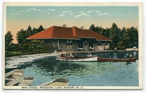 Boat House Weequahic Lake Newark New Jersey 1920c postcard
