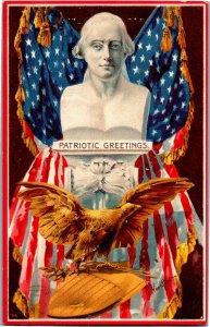 Patriotic Greetings, Flats Bust Golden Eagle Vintage Postcard T09