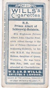 Cigarette Card Wills Portraits of European Royalty No 27 H.H. Prince Albert of