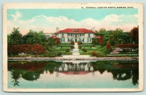 Marion Ohio~Etowah-King Mansion Looking Across Pond~Reflection in Water~1923