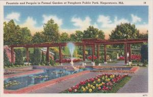 Maryland Hagerstown Fountain & Pergola In Formal Garden At Pangborn Public Park
