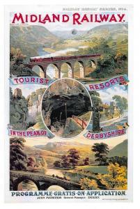 Vintage Repro Travel Poster Postcard Midland Railway, Peak District Derbyshire