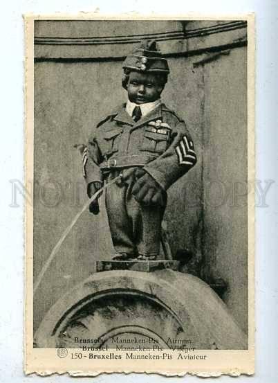 185720 Brussels MANNEKEN PIS Dressed AIRMAN Pilot Vintage PC