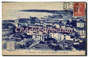 Old Postcard Menton Vue Generale A I'Arriere Map Cap Martin
