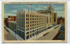 Union Bus Terminal Pickwick Hotel 19th & McGee Street Kansas City MO postcard
