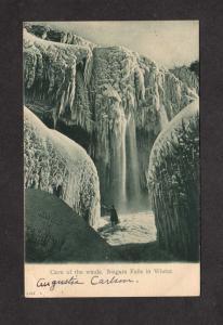 NY Cave of the Winds Ice Winter Niagara Falls New York Canada Postcard UDB 1907