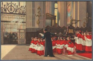 Old German Postcard Church Children Chorus Rehearsal