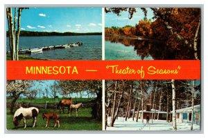 Minnesota Theater of Seasons Vintage Standard Multi View Postcard