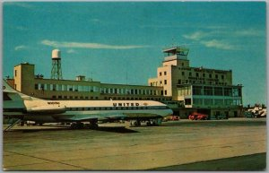 1960s BRADLEY FIELD Connecticut Postcard Hartford-Springfield CT / United Plane