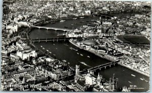 Vintage LONDON England RPPC Real Photo Postcard The Thames at Westminster 1955