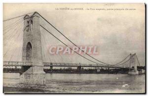 Old Postcard main scope suspension bridge 180 meters Voulte sur Rhone