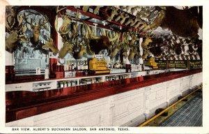 Texas San Antonio Albert's Buckhorn Saloon Bar View Curteich