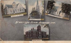 Indiana In Postcard 1911 BREMEN Greetings from 4View CHurches Public School