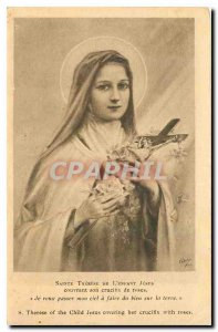 Postcard Old St. Therese of the Child Jesus covering his roses crucitix