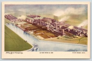 River Rouge Michigan~Ford Motor Company Factory Aerial View~Ship Arrives~1924 PC