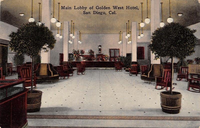San Diego CA~Golden West Hotel~Main Lobby~Rocking Chairs~Norris U0026
