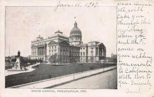 State Capitol, Indianapolis, Indiana, Early Postcard, Used in 1907