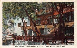 Entrance to Mt. Lowe Tavern, Mt. Lowe, California, Early Postcard, Unused