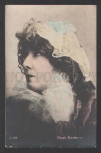 118092 Sarah BERNHARDT Jewish DRAMA Actress Old tinted PHOTO