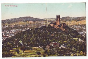 P1236 old unused postcard ruine godesburg germany birds eye view