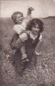 Young Girls Playing In Field Of Flowers 1908