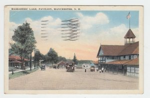 P2082, 1922 postcard massabesic lake pavillion manchester new hampshire
