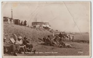 Essex; The Beach & Sea Wall, Canvey Island RP PPC, 1951, To T Davies, Oswestry